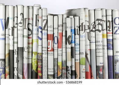 GERMANY - December 11, 2016: serious regional and national German daily newspapers in a row