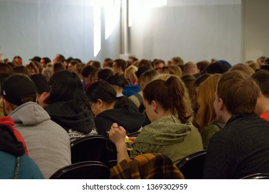 Germany Dortmund 14.4.19 People Sitting In Lines During a Conference