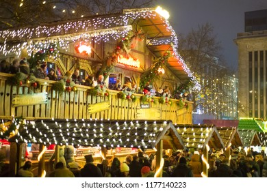 Germany, Dortmund, December 2017: People are resting at the Christmas market in the main square in Dortmund
