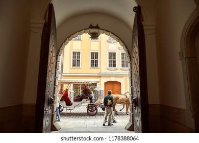 GERMANY, DRESDEN - 26 JUNE 2018: travelers walking near old historical buildings