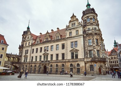 GERMANY, DRESDEN - 26 JUNE 2018: tourists walking on street near old historical buildings