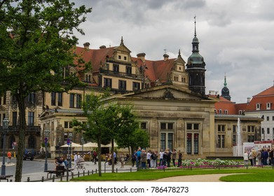 GERMANY, DRESDEN - JULY 13, 2015: View of the Theatre Square, located in the historic center the city.