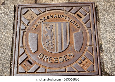 Germany. Dresden. Manhole cover in the street in Dresden. 16 June 2016.