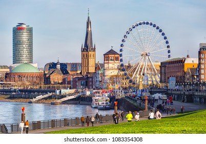 GERMANY, DUSSELDORF - DECEMBER 26,2015:Giant wheel at the Burgplatz in Dusseldorf is part of the local christmas market