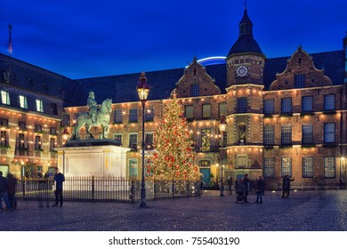 GERMANY, DUSSELDORF - DECEMBER 29, 2015 : Decorated Christmas tree on the square near the town hall
