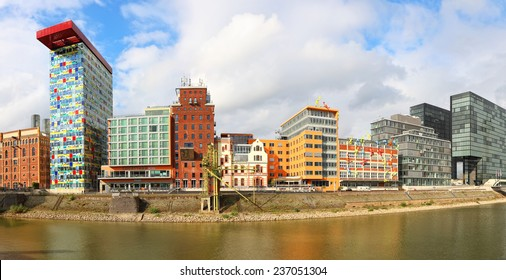 GERMANY, DUSSELDORF - OCTOBER,16 : Architectural complex of Rhine Embankment in Media Harbor of Dusseldorf. Germany, on October 16, 2014