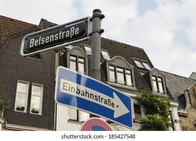 Germany, Dusseldorf, street signs