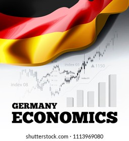 Germany economics illustration with german flag and business chart, bar chart stock numbers bull market, uptrend line graph symbolizes the growth