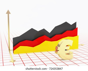 Germany economy growth bar graph with flag and currency symbol.