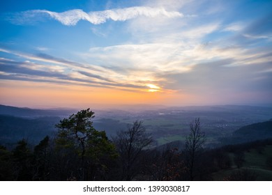 Germany, Endless german countryside scenic view from a mountain at sunset in swabian jura