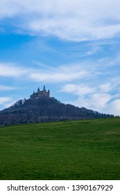 Germany, Famous ancient hohenzollern castle in swabian jura woodland