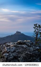 Germany, Famous castle hohenzollern on top of a mountain in swabian jura in twilight mood