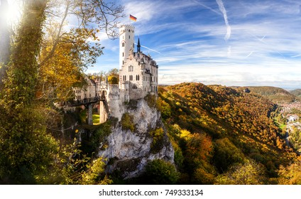 Germany famous view of fairytale landmark  castle -Schloss lichtenstein - in the schwäbische Alb region