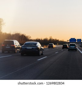 Germany - Feb 25, 2018: Multiple cars driving on the winter evening on the German Autobahn with the direction Offenburg, Basel, Frankfurt square image
