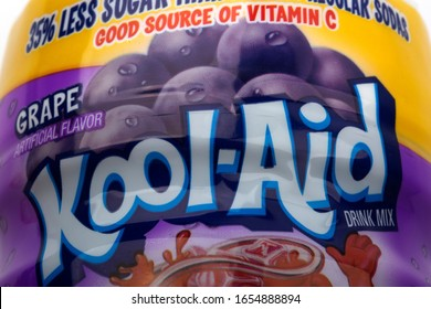 Hüttenberg, GERMANY - FEBRUARY  19, 2020: Close up photo of a can of Kool-Aid drink mix. Grape flavor.