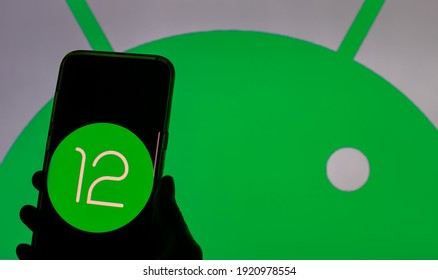 Germany - February 20,2021: Google publishes the first version of Android 12