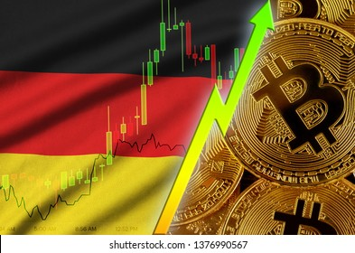 Germany flag and cryptocurrency growing trend with many golden bitcoins