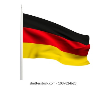 Germany flag floating in the wind with a White sky background. 3D illustration.