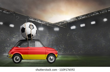 Germany flag on car delivering soccer or football ball at stadium