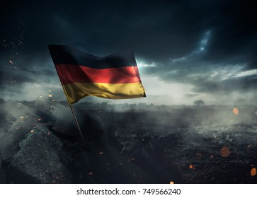 Germany flag waving with hope after a disaster. / high contrast image