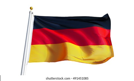 Germany flag waving on white background, close up, isolated with clipping path mask alpha channel transparency