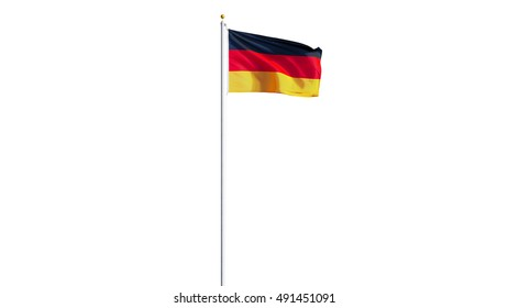 Germany flag waving on white background, long shot, isolated with clipping path mask alpha channel transparency
