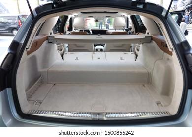 Germany, Frankfurt  - 10. September 2019: IAA Car Show Frankfurt 2019 - Mercedes Benz E 300 de T-Model, EQ Power - detail view of the interior  - Interior view of the car