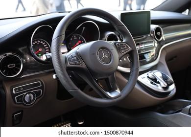 Germany, Frankfurt  - 10. September 2019: IAA Car Show Frankfurt 2019 - Mercedes Benz V-Class, Avantgarde Edition, V300d long version - detail view of the interior  - Interior view of the car