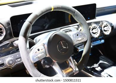 Germany Frankfurt 10.09.2019 IAA Car Show Frankfurt Mercedes AMG A 45 4MATIC Details Interior