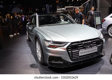 Germany, Frankfurt - 10.September 2019: Audi A6 allroad quattro tiptronic  - car front view - IAA Car Show Frankfurt 2019