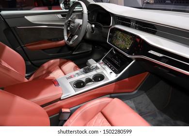 Germany, Frankfurt - 10.September 2019:  Audi S6 Limousine TDI , TDI Tiptronic  - Interior detail view with controls and steering wheel - IAA Car Show Frankfurt 2019
