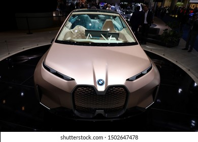 Germany, Frankfurt - 10.September 2019: BMW VISION iNEXT - electric car - detail front view of the car body - IAA Car Show Frankfurt 2019