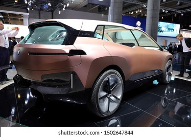Germany, Frankfurt - 10.September 2019: BMW VISION iNEXT - electric car - detail side view of the car body - IAA Car Show Frankfurt 2019