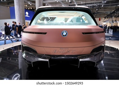Germany, Frankfurt - 10.September 2019: BMW VISION iNEXT - electric car - detail back view of the car body - IAA Car Show Frankfurt 2019