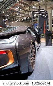 Germany, Frankfurt - 10.September 2019: BMW i8 Coupe Ultimate Sophisto Edition Coupe - electric car - detail back view of the car body - IAA Car Show Frankfurt 2019