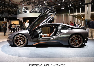 Germany, Frankfurt - 10.September 2019: BMW i8 Coupe Ultimate Sophisto Edition Coupe - electric car - detail side view of the car body - IAA Car Show Frankfurt 2019