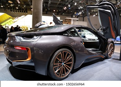 Germany, Frankfurt - 10.September 2019: BMW i8 Coupe Ultimate Sophisto Edition Coupe - electric car - detail rear view of the car body - IAA Car Show Frankfurt 2019