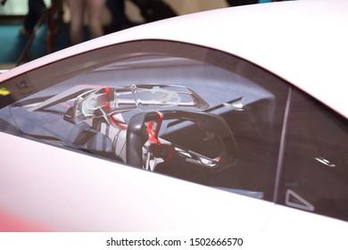 Germany, Frankfurt - 10.September 2019: BMW Concept 4 VISION M NEXT  - hybrid electric concept sports car - detail view of the car body - IAA Car Show Frankfurt 2019