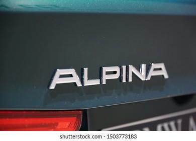 "Germany, Frankfurt - 10.September 2019: BMW Alpina B5 Biturbo - Touring 4WD  - detail view of the car body with ""Alpina"" logo -  IAA Car Show Frankfurt 2019"