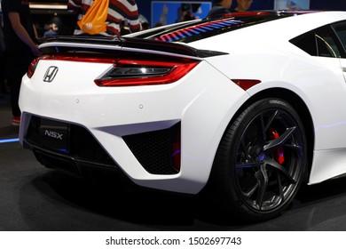 Germany, Frankfurt - 10.September 2019: Honda NSX Hybrid Sport Car  - electric sport car - detail rear view of the car body - IAA Car Show Frankfurt 2019