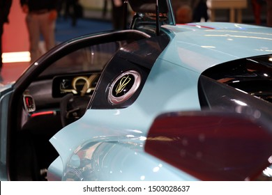 Germany, Frankfurt - 10.September 2019: Hongqi S9 - supercar with 1400 hp from China - Interior detail view with controls and steering wheel - IAA Car Show Frankfurt 2019