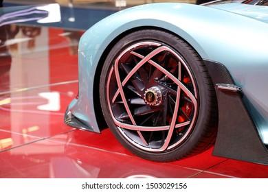 Germany, Frankfurt - 10.September 2019: Hongqi S9 - supercar with 1400 hp from China - detail view of the car wheel - IAA Car Show Frankfurt 2019