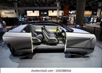 Germany, Frankfurt - 10.September 2019: Hyundai 45 all electric concept car - detail view of the car body with  Interior -     IAA Car Show Frankfurt 2019