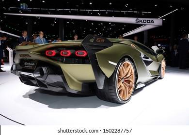 Germany, Frankfurt - 10.September 2019:  Lamborghini Sian FKP 37 Super Sports Car  - car back view - IAA Car Show Frankfurt 2019