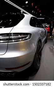 Germany, Frankfurt - 10.September 2019: Porsche Macan Turbo - detail view of the car body - Sports Car - IAA Car Show Frankfurt 2019