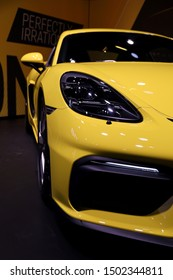 Germany, Frankfurt - 10.September 2019: Porsche 718 Cayman GT4 - car front view - Sports Car - IAA Car Show Frankfurt 2019