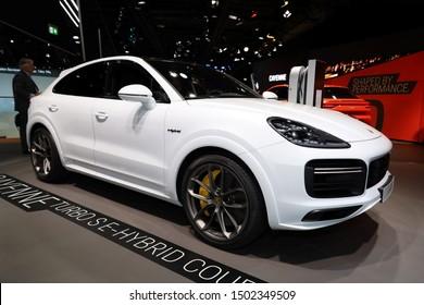 Germany, Frankfurt - 10.September 2019: Porsche Cayenne Turbo S - E-Hybrid Coupe - car side view - IAA Car Show Frankfurt 2019