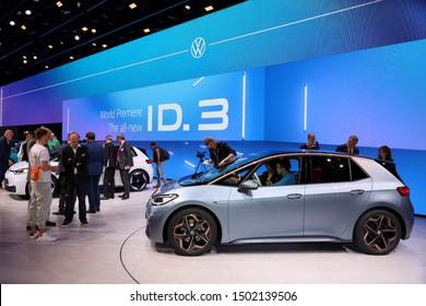 Germany, Frankfurt - 10.September 2019: Volkswagen VW ID.3, VW electric car  ,car side view - IAA Car Show Frankfurt 2019