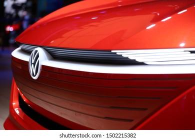Germany, Frankfurt - 10.September 2019: Volkswagen VW I.D., VW ID electric car Concept ,detail view of the car body - IAA Car Show Frankfurt 2019