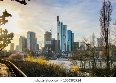 Germany, Frankfurt - April 14, 2013: Sun setting on skyline cityscape of Frankfurt